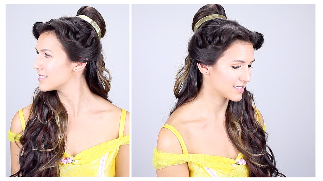 belle disney princess hair tutorial - youtube
