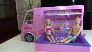 Autocaravana barbie hot tup party bus barbie camper van motorhome juguetes barbie toys review #2