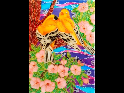 GLASS PAINTING OF LOVE BIRDS