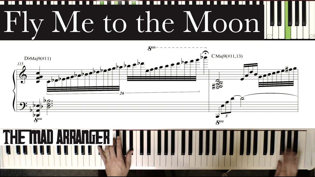 Jacob Koller - Fly Me to the Moon - Advanced Jazz Piano Cover with Sheet  Music