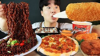 ENG SUB) ASMR MUKBANG FIRE Noodle & HOT DOG & CHEESE PIZZA & Tteokbokki EATING SOUND ! (BULDAK)