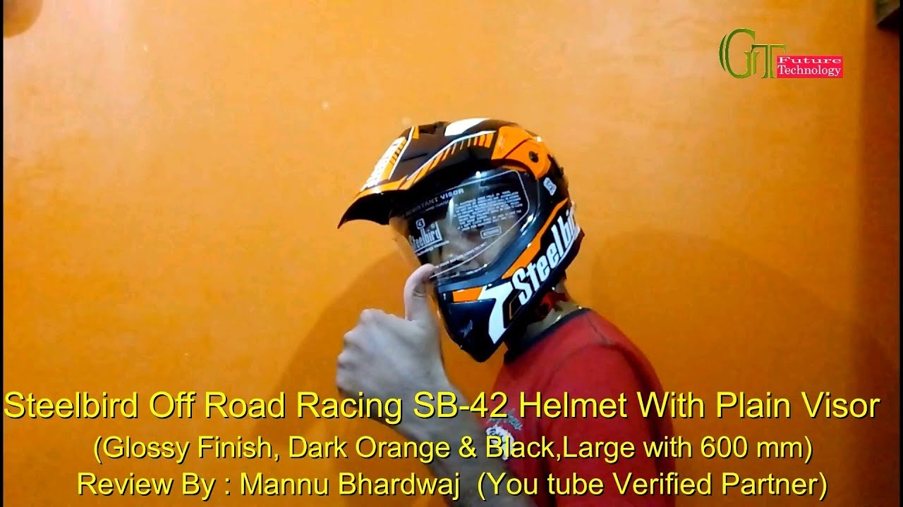 54c77ca1 Steelbird SB-42 Off Road Helmet for KTM duke 390 || most Affordable and  stylish Racing helmet SB42