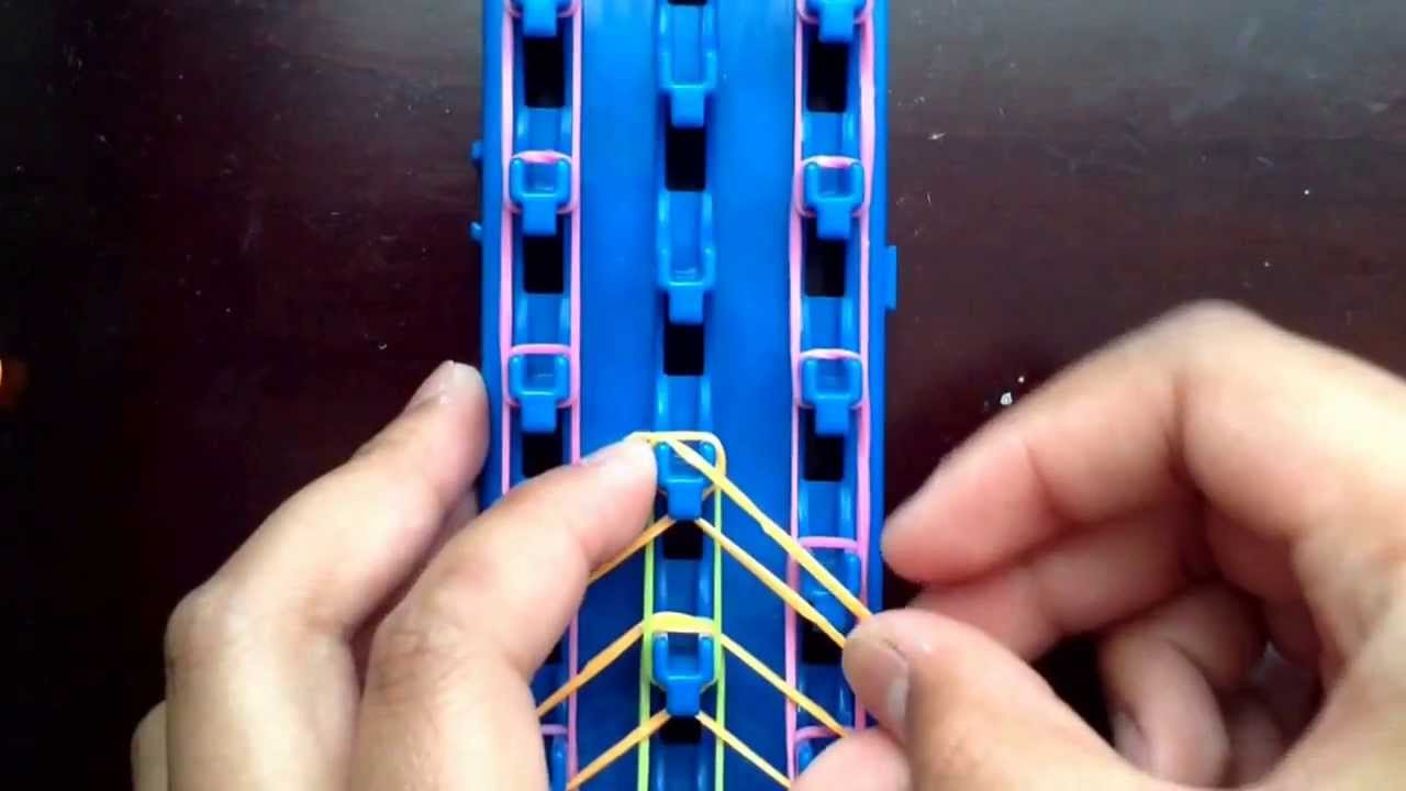 New french braid rainbow loom monster tail bracelet tutorial