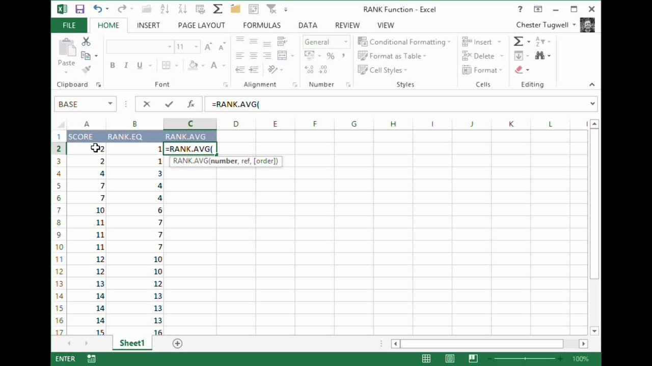 Use Excel's RANK Function to Rank Numbers in a Range