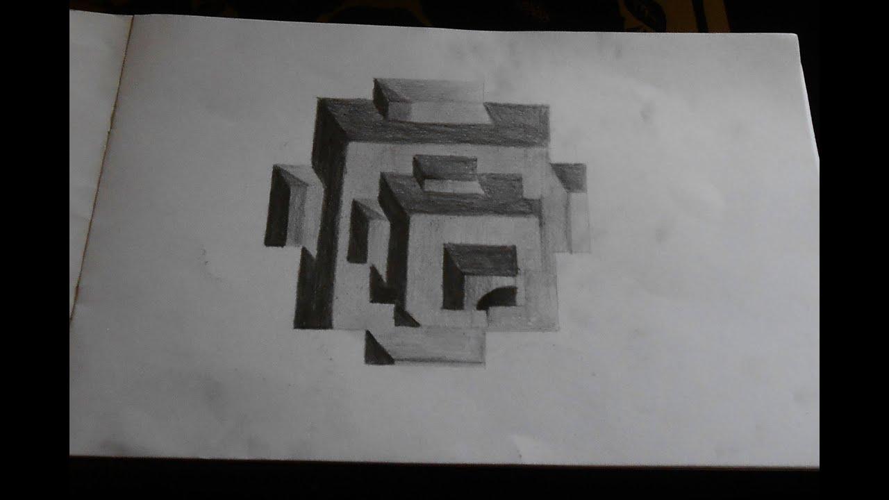 melukis dengan pensil ilusi 3d naik turun - YouTube