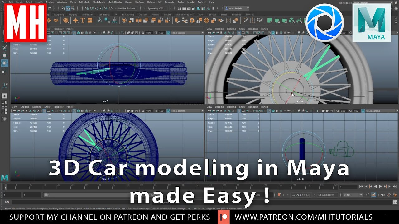 3D Car Modeling in Maya 2020 made Easy ! Part #4