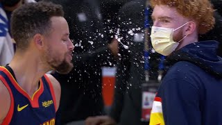 Stephen Curry Spits Out Water Laughing - Timberwolves vs Warriors   January 25, 2020-21 NBA Season