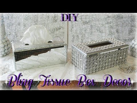 DIY GLAM TISSUE BOX HOLDERS | DIY DOLLAR STORE | BLING ROOM DECOR