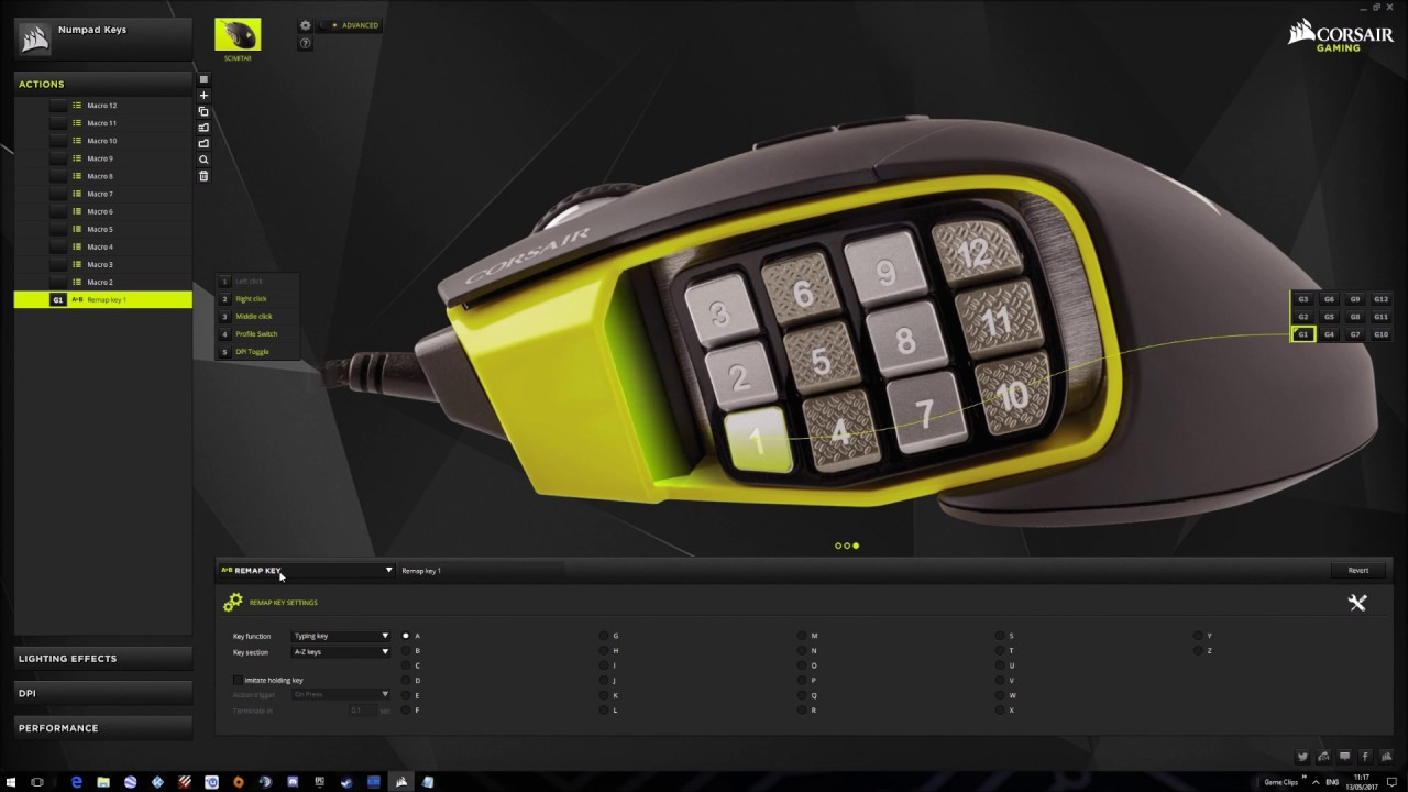 Corsair Scimitar RGB - How to assign - Hold Button (For PTT or other)