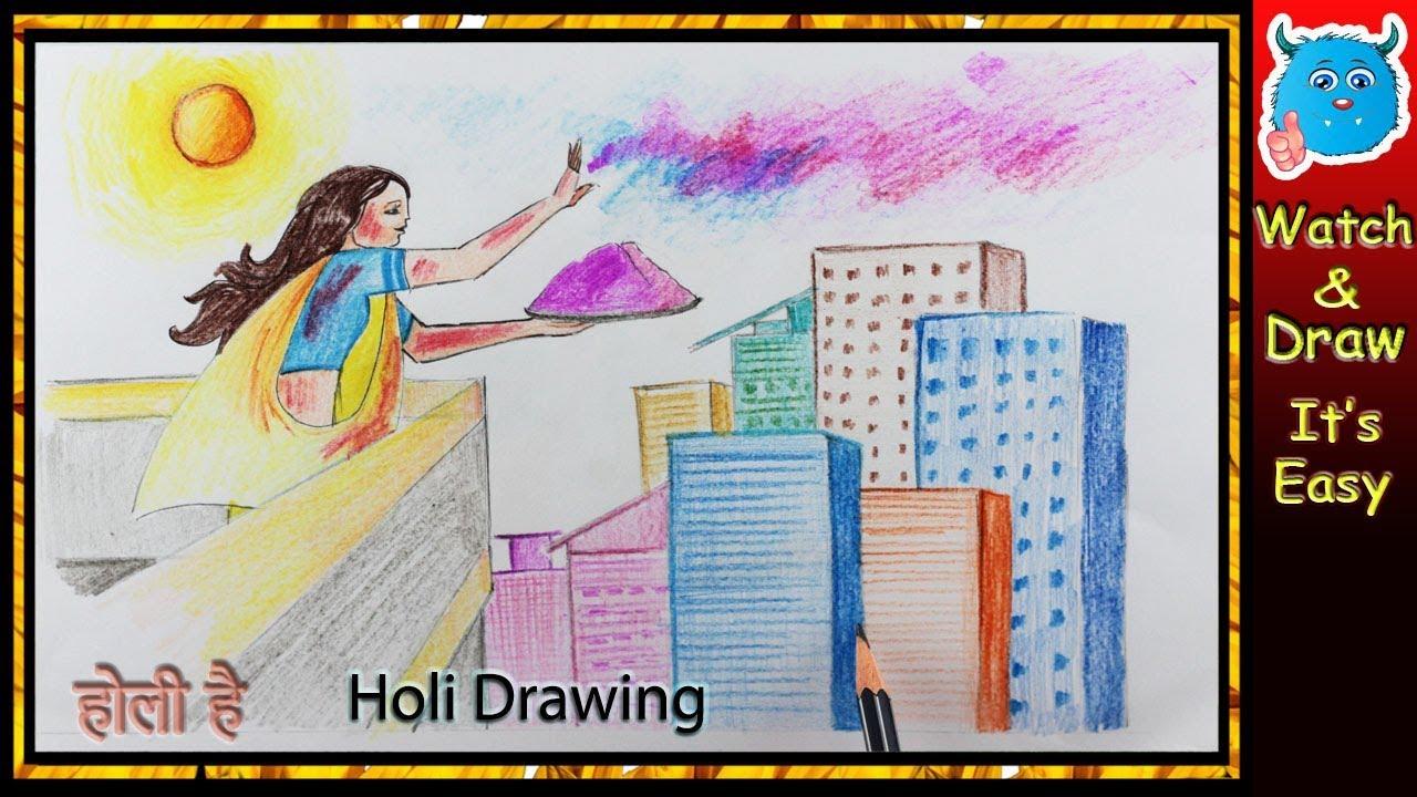 How To Draw Holi Festival Scene For Kids Youtube