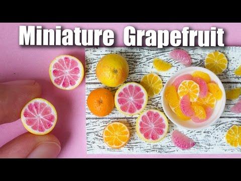 Miniature Polymer Clay Grapefruit Cane Tutorial // Dollhouse Food