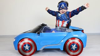 Efsane Tekerler! Yusuf Playing The Avengers Superhero Costume and Wheels