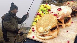 🐟 Рыбалка в январе. Готовим гамбургеры по Маррокански. Готовим на рыбалке.