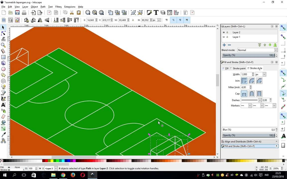 Inkscape Isometric Football Pitch Tutorial