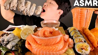 ASMR MUKBANG | SALMON NOODLES, OYSTER, SEA GRAPES SEAFOOD EATING SOUND サーモン cá hồi 연어국수 먹방
