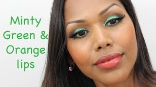 Minty Green and Soft Orange lips Thumbnail