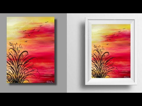 simple painting – sunset painting tutorial – landscape – step by step painting – easy painting – art