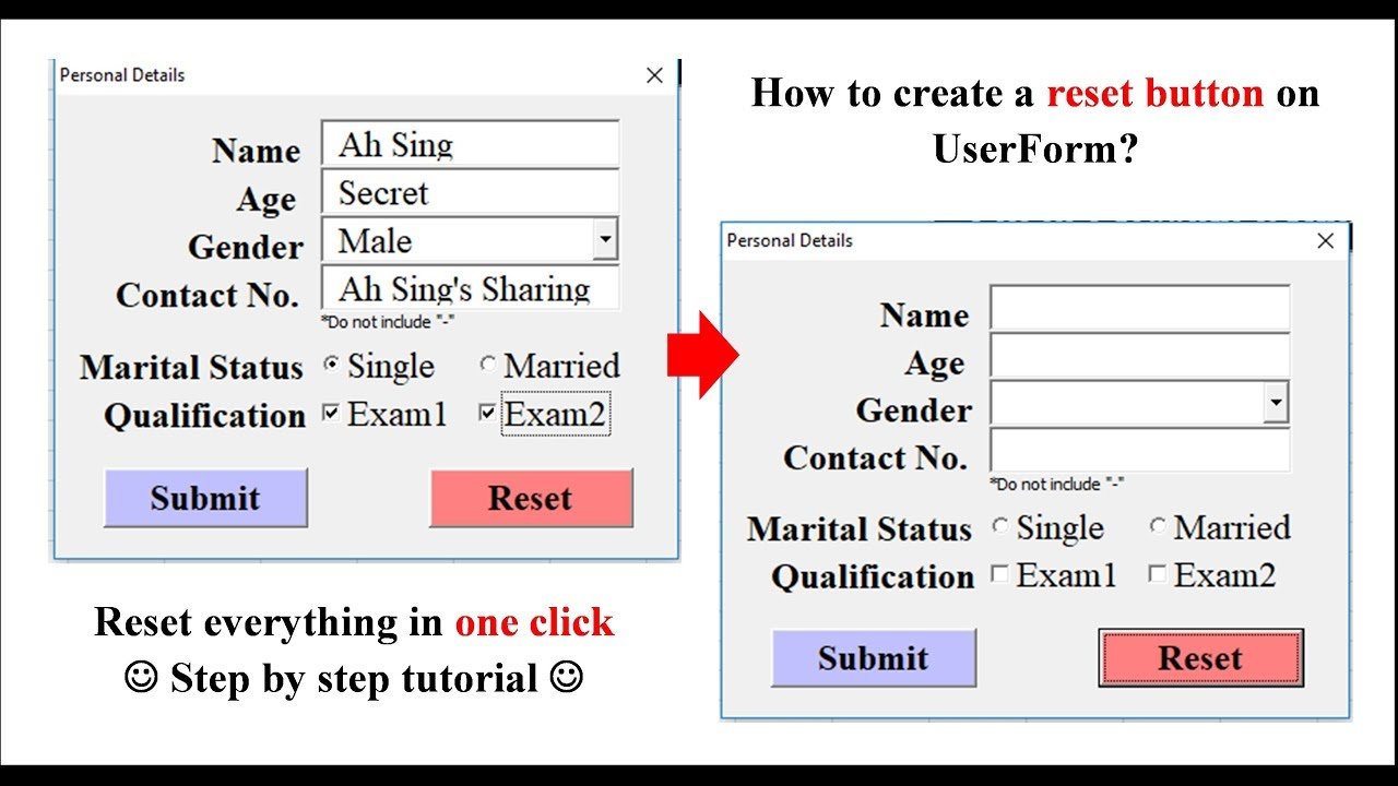 Excel VBA - Create Reset Button on UserForm