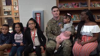 Ford Hood soldier comes home to surprise his four kids at school