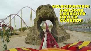 Velociraptor AWESOME Launched Roller Coaster Front Seat POV View IMG Worlds Dubai UAE 60FPS
