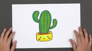 How to Draw a Cactus Easy Step by Step - Really Easy Drawing Tutorial