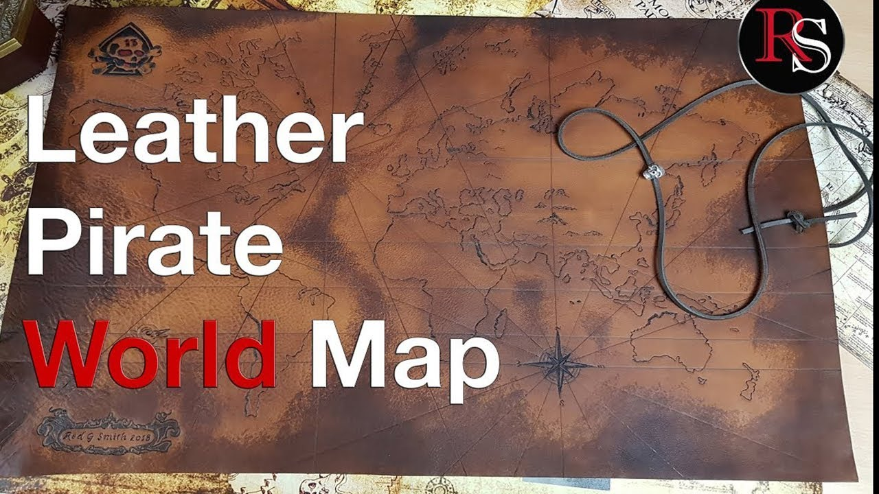 Pirate World Map.How To Make A Leather Pirate Treasure Map World Map For Skully