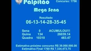 MEGASENA CONCURSO 1756 31102015