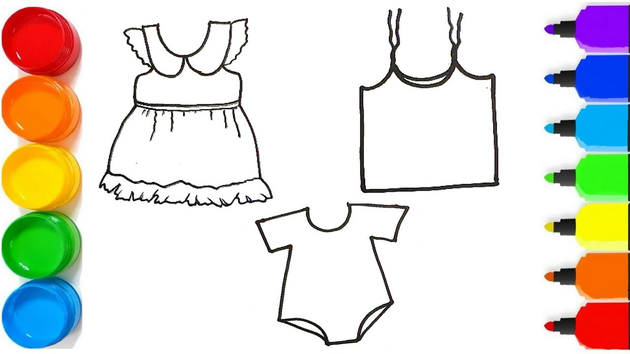 How To Draw BABY DRESSES FOR KIDS Drawing And Coloring Pages For Kids 24