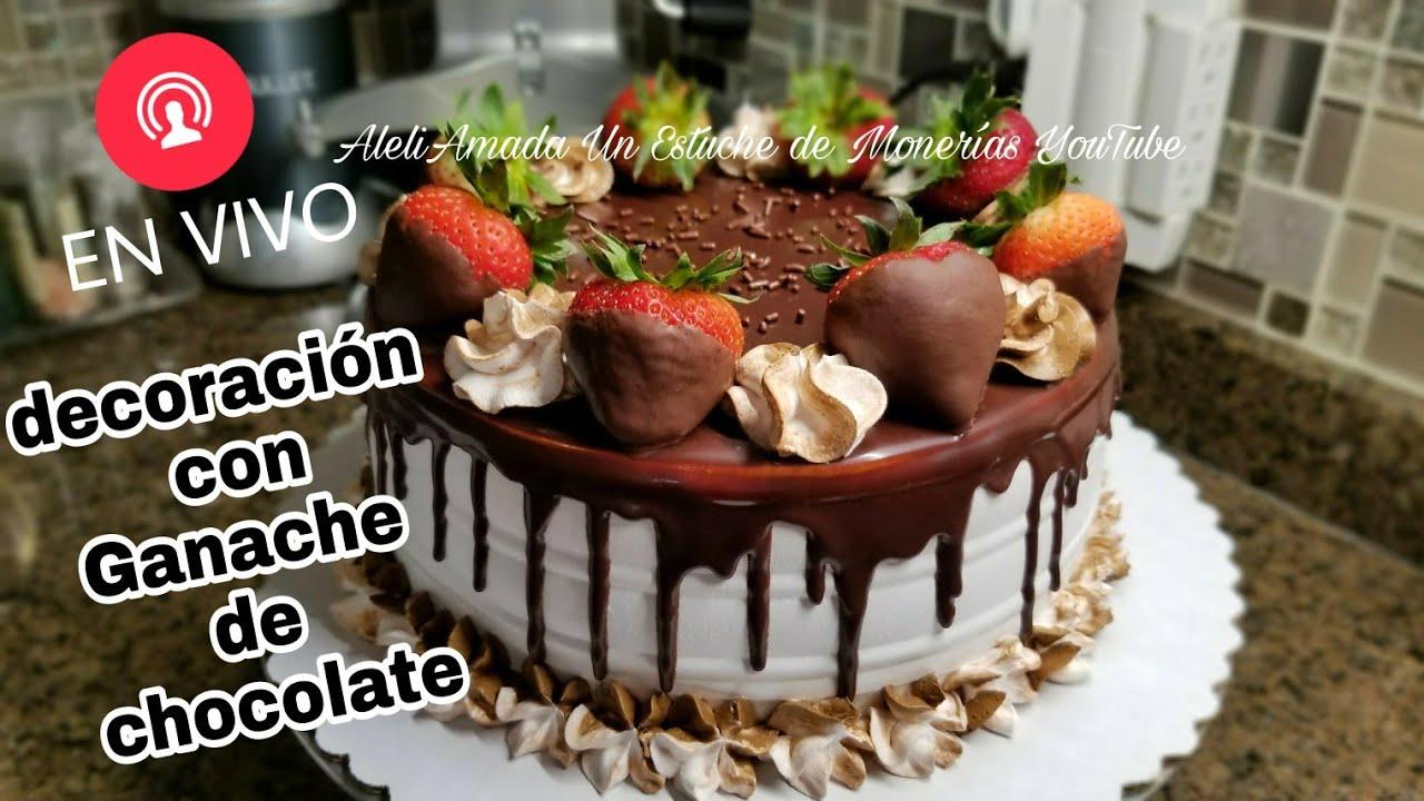 Decoración De Pastel Con Ganache De Chocolate