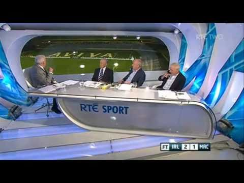 Liam Brady fight with  Bill O' Herlihy RTE  Ireland vs Macedonia HD