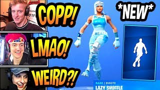 "STREAMERS REACT TO *NEW* ""LAZY SHUFFLE"" EMOTE/DANCE! *RARE* Fortnite FUNNY & EPIC Moments"