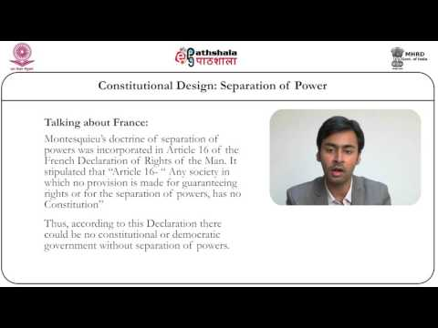 Constitutional design: separation of  powers (Law)