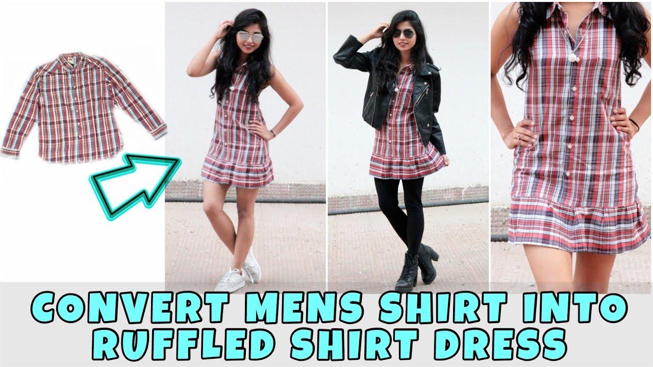 DIY: Convert Men's Shirt Into Cute Shirt Dress In 6 Mins ...