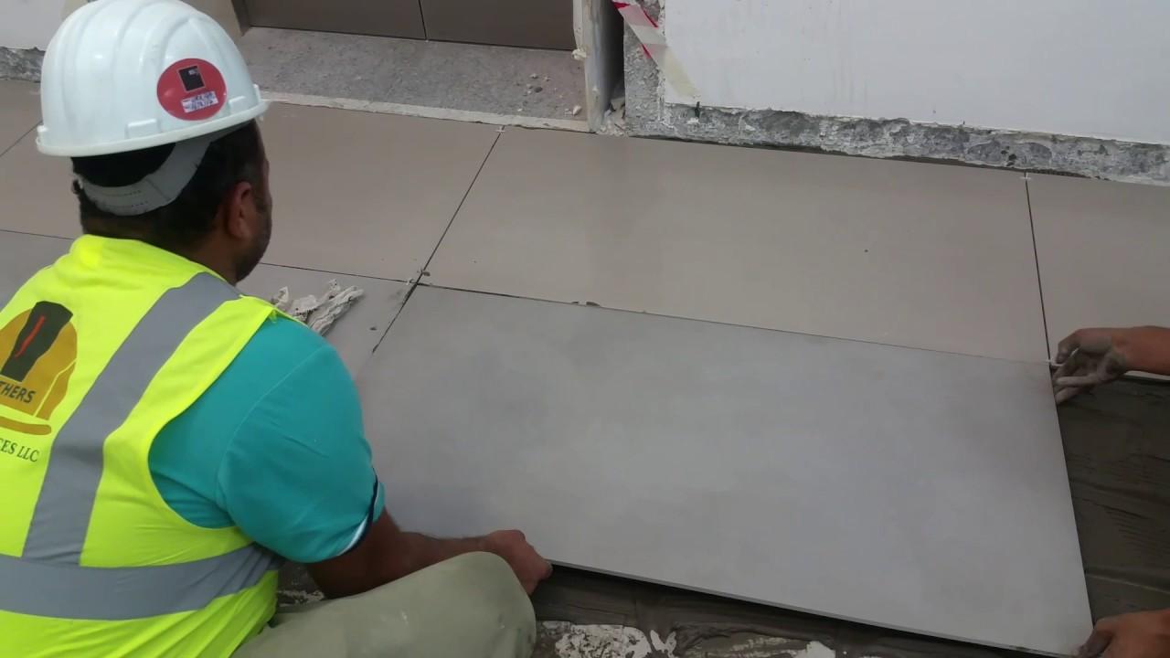 Porcelain Floor Tiles Fixing In Dubai Youtube