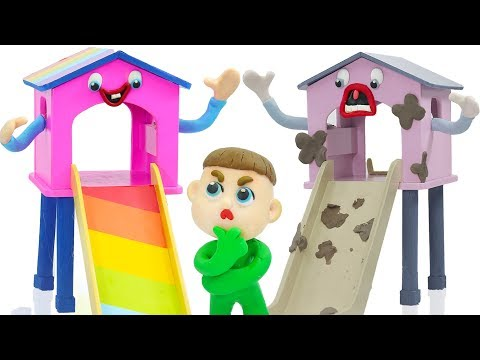 SUPERHERO BABY PLAYS NEW RAINBOW COLORS SLIDE 💖 Animation Cartoons Play Doh