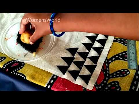 Vegetable block Printing | Fabric painting on Dupatta / Stole - DIY