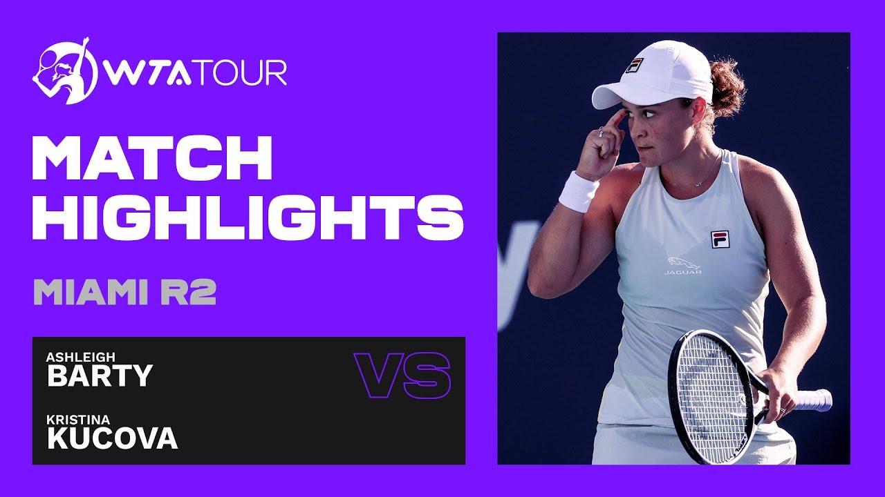 Ashleigh Barty vs. Kristina Kucova | 2021 Miami Open Round 2 | WTA Match Highlights