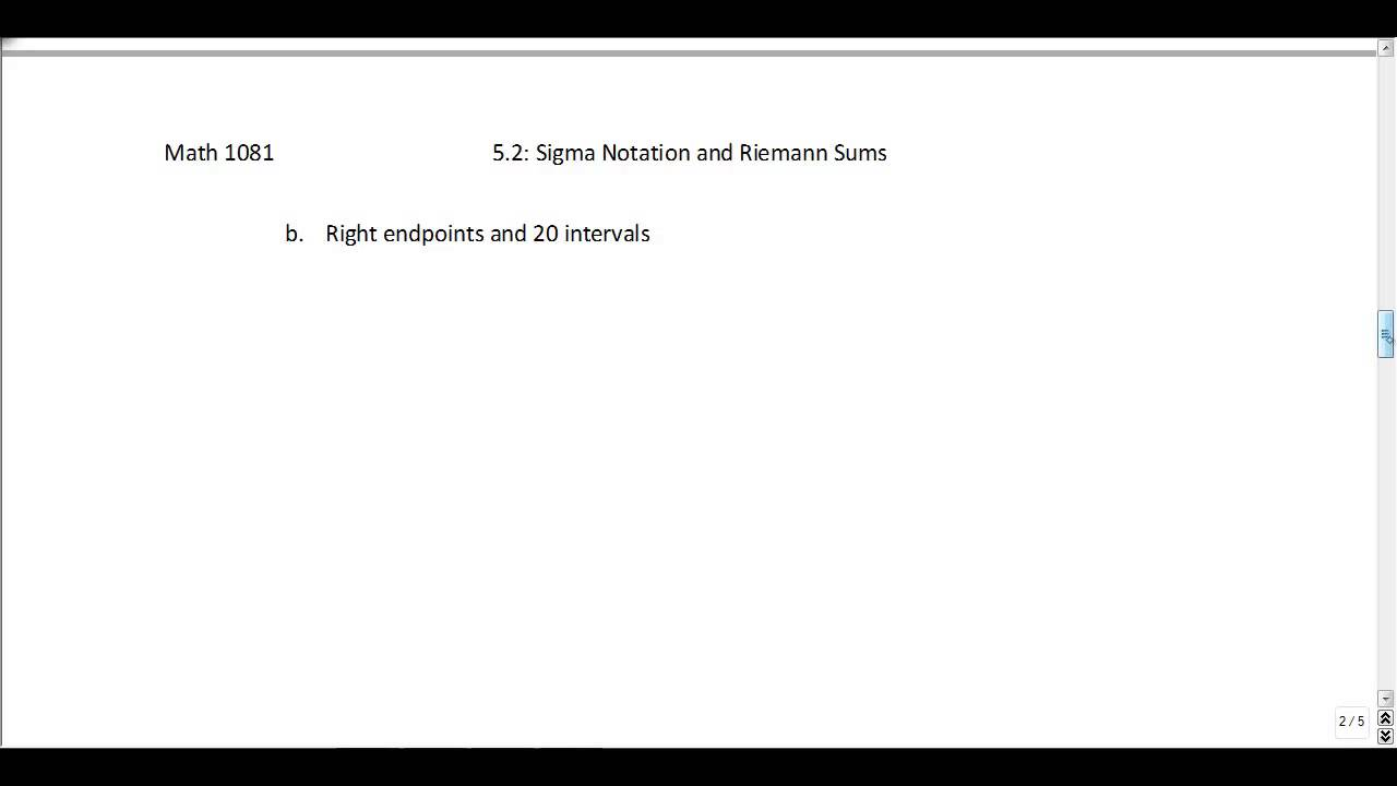 Calculus Problems Sigma Notation and Riemann Sums YouTube – Sigma Notation Worksheet