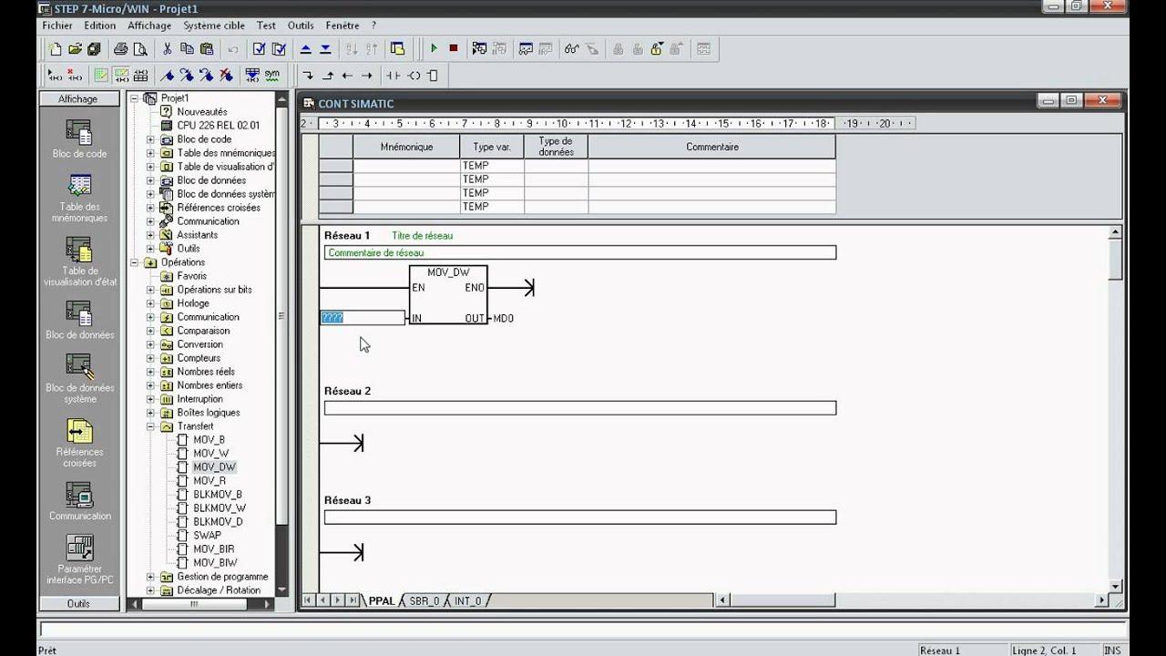 EP10 Step 7 MicroWIN Part 18 Instruction De Transfert MOV