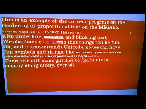 Blinking anti-aliased proportional text on the MEGA65 8-bit computer