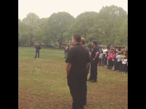 Special education students from Yonkers public schools watch a K9 Police Dog demonstration.