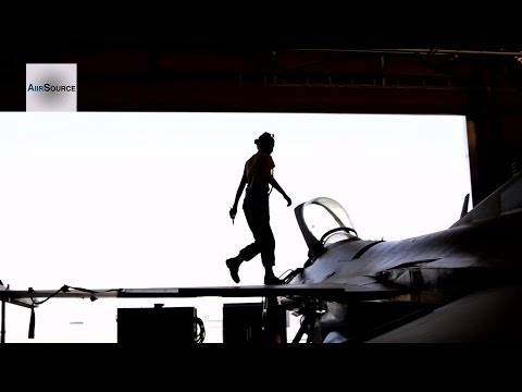 F-16 Crew Chiefs Perform Routine Maintenance