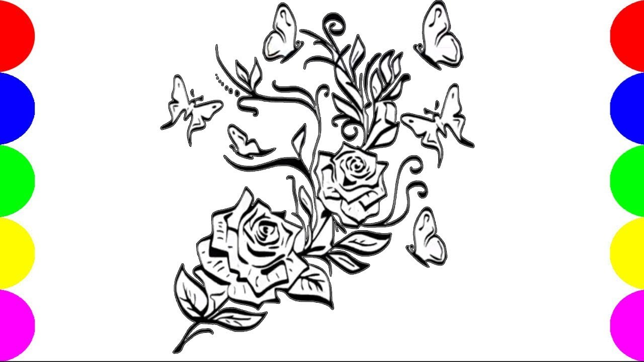 How To Draw Rose Flower Easy Drawing Ideas For Kids Learning Colors ...