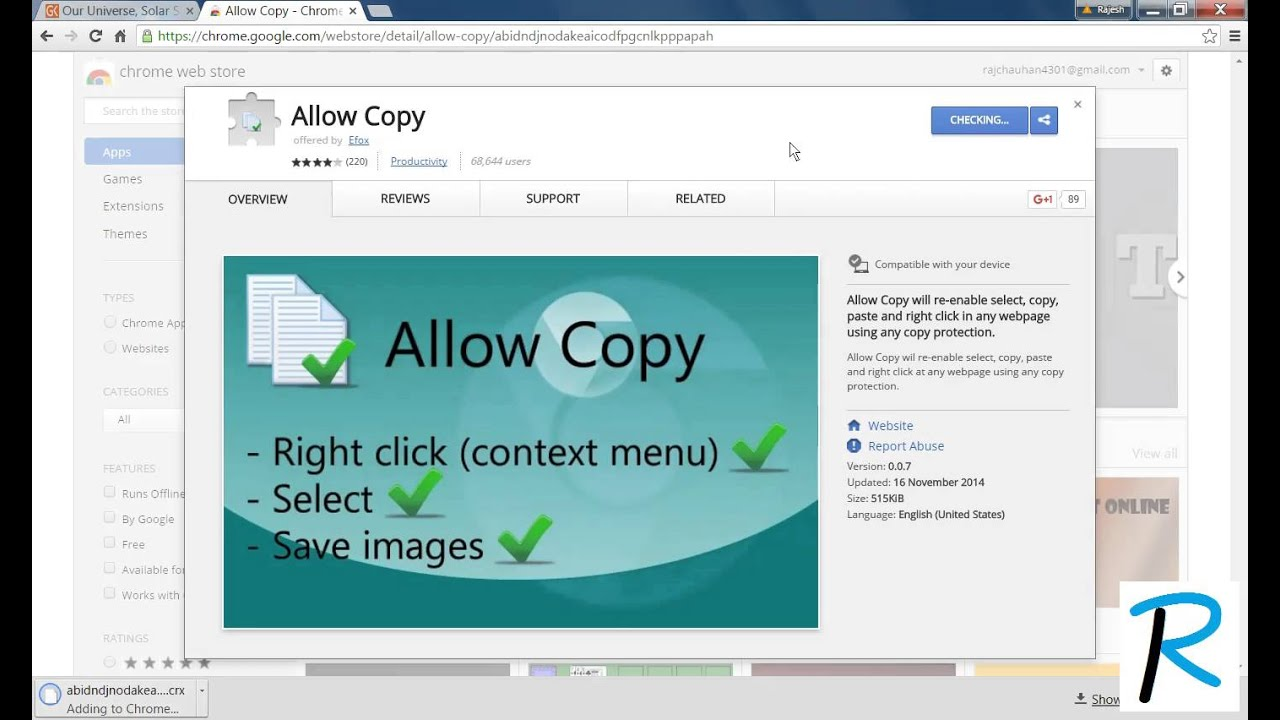 how to enable right click on chrome