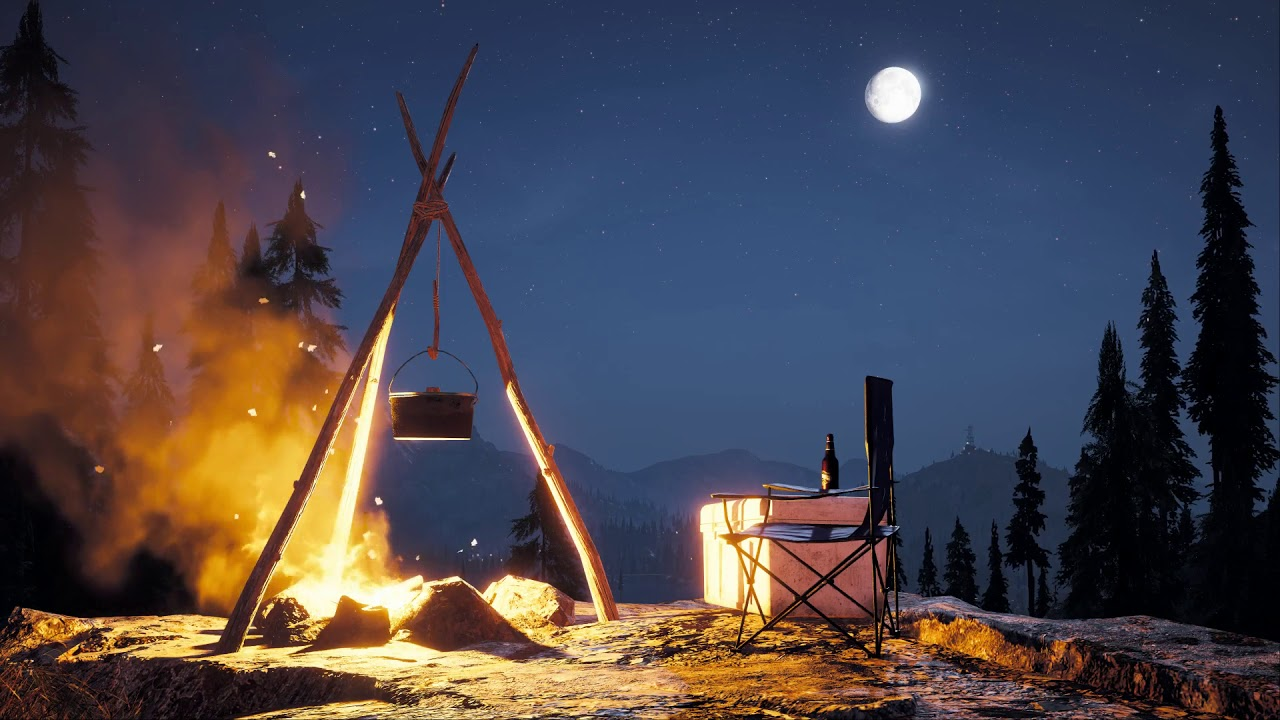 Far Cry 5│ASMR/Sleep Aid│Night By Camp Fire│Ambient Sounds ...