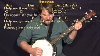 Help! (The Beatles) Banjo Cover Lesson in Bm with Chords/Lyrics