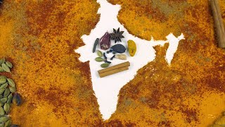 Indian map designed with colorful traditional spices and herbs of India