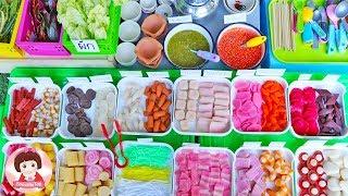 ละครสั้น เปิดร้านปิ้งย่างหมูกะทะ ของเล่นPlay Doh ปั้นแป้งโดว์อาหารKitchen Cooking Play Doh Food Toy