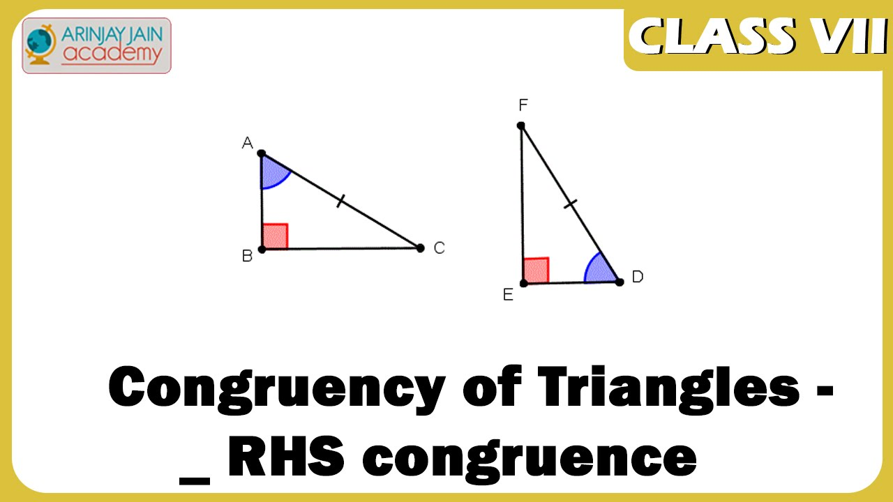 hight resolution of Congruency of Triangles - RHS congruence - Geometry - Maths - ISCE