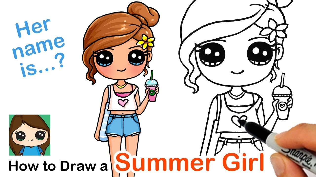 Artistic Cute Cartoon Girl Drawing